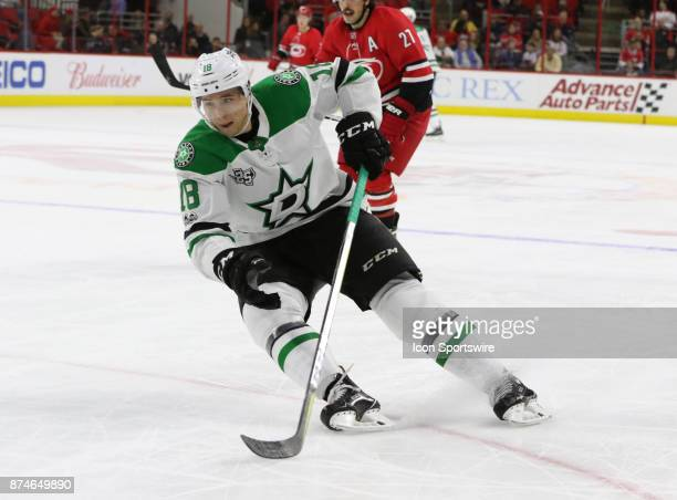 Dallas Stars Right Wing Tyler Pitlick during the 2nd period of the Carolina Hurricanes versus the Dallas Stars on November 13 at PNC Arena in Raleigh...