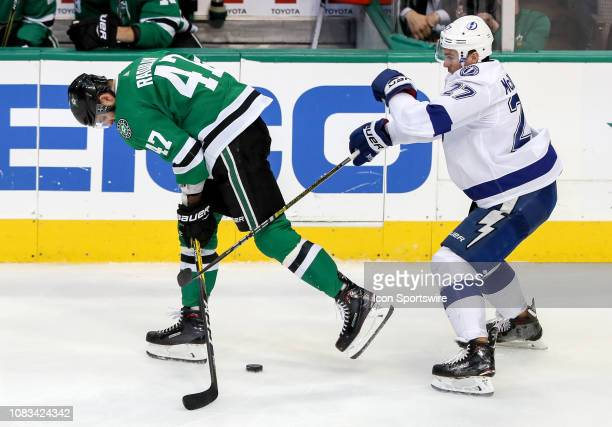 Dallas Stars right winger Alexander Radulov looses the puck against Tampa Bay Lightning defenseman Ryan McDonagh during the game between the Tampa...