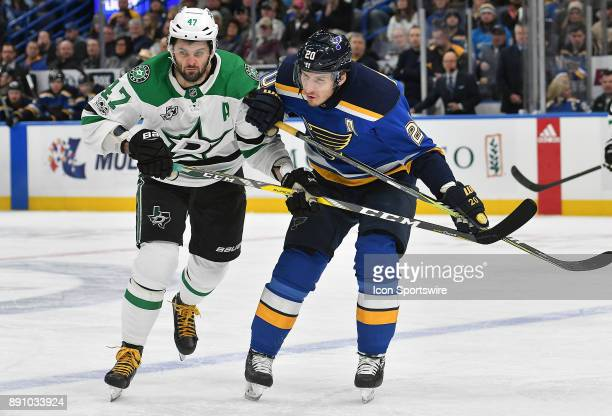 Dallas Stars rightwing Alexander Radulov and St Louis Blues leftwing Alexander Steen watch a loose puck bounce to the boards during a NHL game...