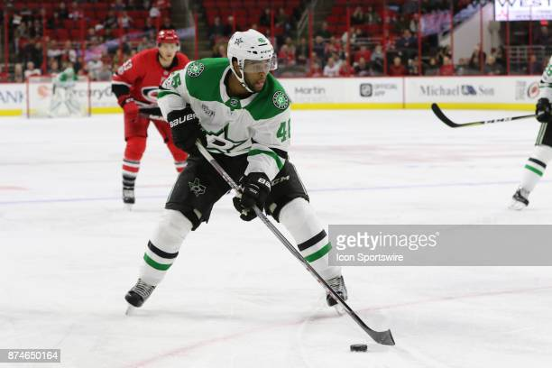 Dallas Stars Winger Gemel Smith during the 3rd period of the Carolina Hurricanes versus the Dallas Stars on November 13 at PNC Arena in Raleigh NC