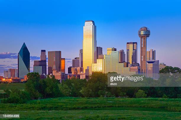 dallas texas city skyline panorama cityscape late afternoon - dallas stock pictures, royalty-free photos & images