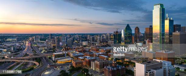 dallas texas evening skyline panorama - north america stock pictures, royalty-free photos & images