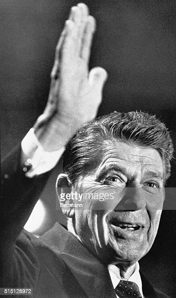 Dallas, Texas: Ronald Reagan waves goodbye to newsmen at a news conference at the Hyatt Regency Hotel after telling the gathering that he doubted the...