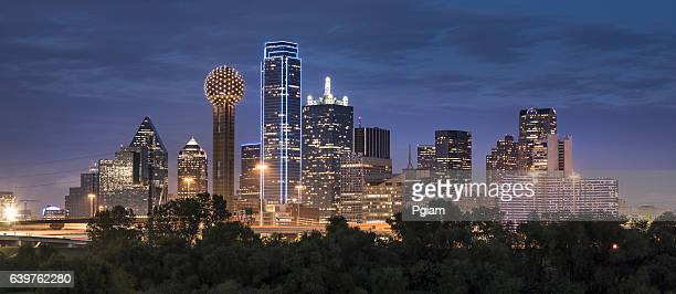 dallas texas skyline and reunion tower panoramic - horizonte urbano imagens e fotografias de stock