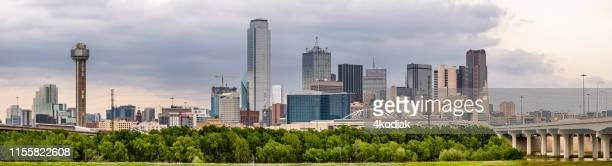 dallas texas skyline panorama shot - dallas texas stock pictures, royalty-free photos & images
