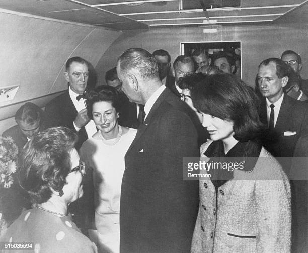 The historic Presidential oathtaking by Lyndon Johnson aboard Air Force One in Dallas is recorded by Cecil Stoughton Kennedy's official photographer
