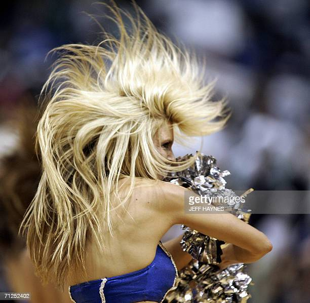 A Dallas Mavericks dancer performs during Game Six of the NBA Fianls 20 June 2006 at the American Airlines Center in Dallas Texas The Miami Heat won...
