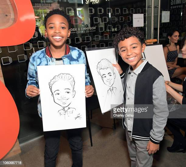 Dallas Young and Micah Abbey attend Nickelodeon' Holiday Party With Casts Of Cousins For Life And Henry Danger at Nickelodeon Studios on November 10...