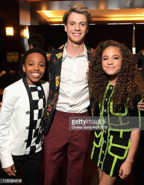 Dallas Young Jace Norman and Scarlet Spencer attend Nickelodeon's 2019 Kids' Choice Awards at Galen Center on March 23 2019 in Los Angeles California