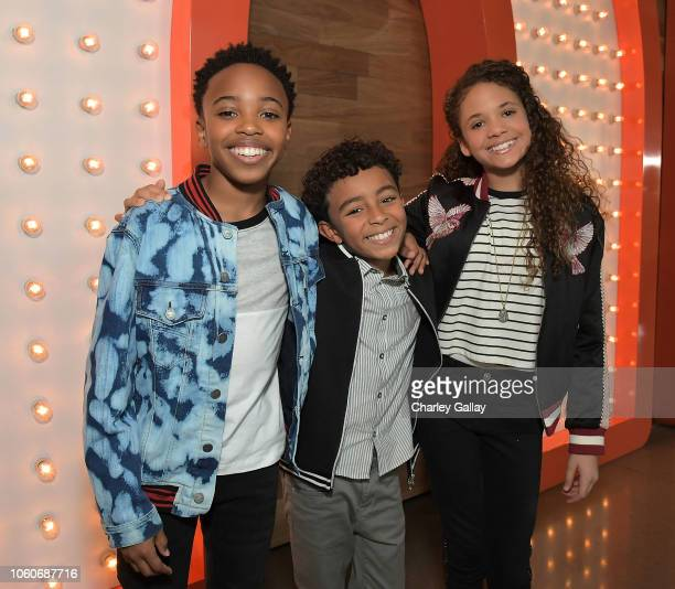 Dallas Young Micah Abbey and Scarlet Spencer attend Nickelodeon' Holiday Party With Casts Of Cousins For Life And Henry Danger at Nickelodeon Studios...
