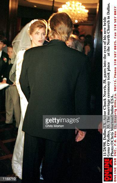 11/28/98 DallasTX Actor Chuck Norris gazes into the eyes of his new bride Gena O''Kelley 35 The marriage ceremony took place at the North Church in...