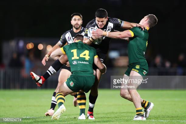 Dallin Watene Zelezniak of the Kiwis charges forward during the international Rugby League Test Match between the New Zealand Kiwis and the Australia...