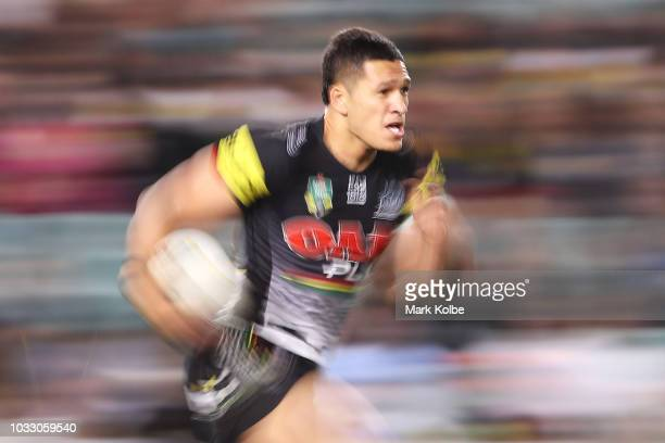 Dallin Watene Zelezniak of the Panthers runs the ball during the NRL Semi Final match between the Cronulla Sharks and the Penrith Panthers at Allianz...