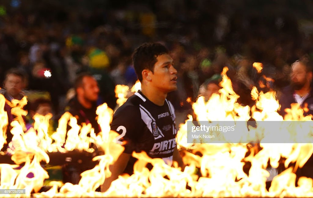 Dallin Watene-Zelezniak of the Kiwis walks out before the ANZAC Test match between the Australian Kangaroos and the New Zealand Kiwis at GIO Stadium on May 5, 2017 in Canberra, Australia.