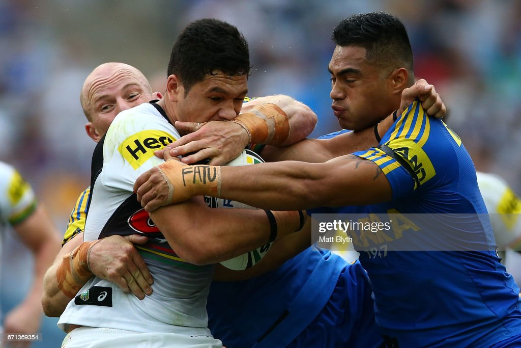 Dallin Watene-Zelezniak of the Panthers is tackled during the round eight NRL match between the Parramatta Eels and the Penrith Panthers at ANZ Stadium on April 22, 2017 in Sydney, Australia.