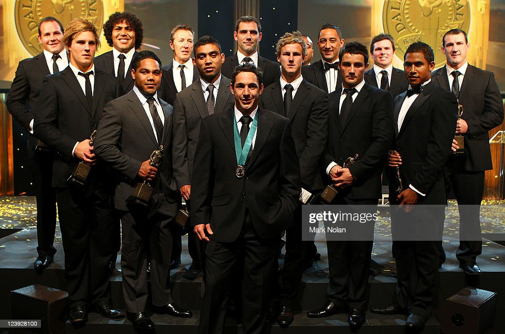 Dally M Award winners (Back Row) Matthew Scott, Sam Thaiday, Craig Bellamy, Cameron Smith, Akuila Uate, Benji Marshall, Jamie Lyon, Paul Gallen, (Middle Row) Jack De Belin, Chris Sandow, Nathan Merritt, Daly Cherry-Evans, Cooper Cronk, Ben Barber and (Front Row) Billy Slater pose for photos during the 2011 Dally M Awards at the Royal Hall of Industries, Moore Park on September 6, 2011 in Sydney, Australia.