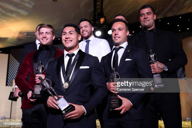 Dally M player of the year Roger TuivasaSheck of the New Zealand Warriors poses on stage with other players named in the Dally M team of the year...