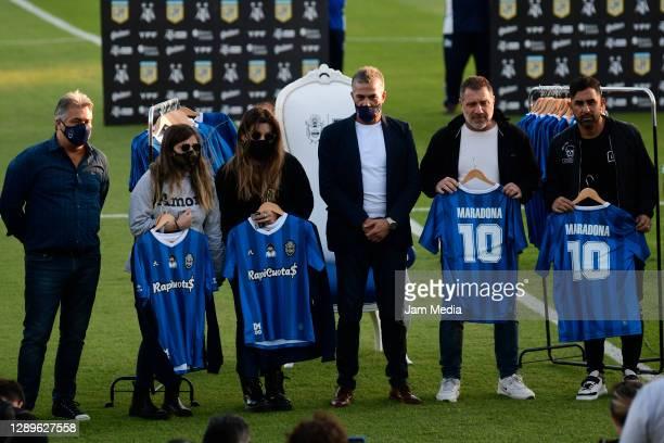 Dalma and Gianinna Maradona, Gabriel Pellegrino President of Gimnasia y Esgrima La Plata, Roberto Pompei and former footballer Daniel Montenegro pose...