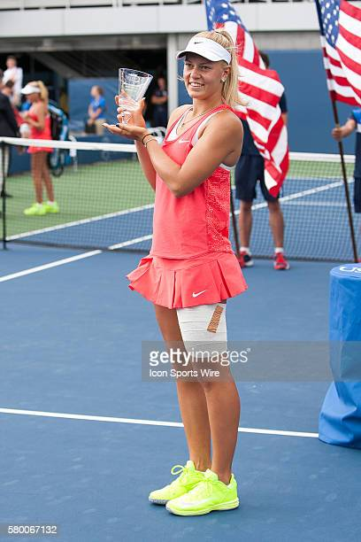 Dalma Galfi during the Trophy Ceremony after defeating Sofia Kenin 75 64 during the Junior Girls' Singles Final of the 2015 US Open at the USTA Billy...