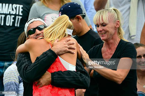 Dalma Galfi of Hungary celebrates after defeating Sofia Kenin of the United States heir Junior Girls' Singles Final on Day Fourteen of the 2015 US...