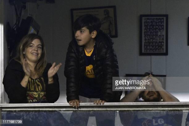 Dalma Maradona daughter of Argentine football legend Diego Maradona and fan of Boca Juniors and her nephew Benjamin Aguero son of Giannina Maradona...