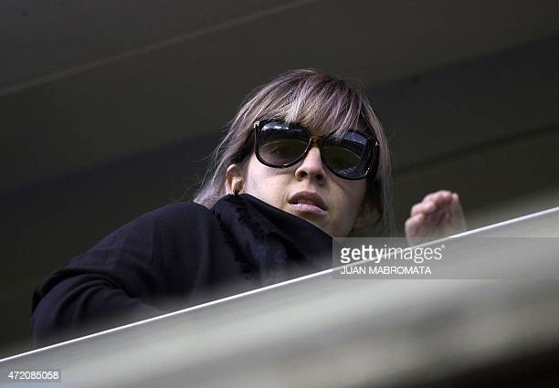 Dalma Maradona daughter of Argentinian former footballer Diego Maradona attends the Argentine first division football match between Boca Juniors and...