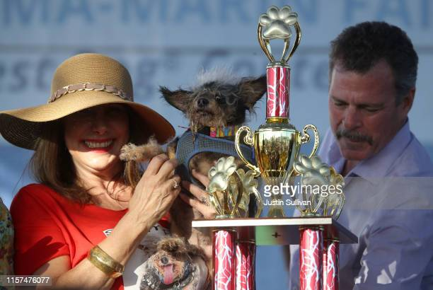 Dalrene Wright holds Scamp the Tramp after winning the World's Ugliest Dog contest at the MarinSonoma County Fair on June 21 2019 in Petaluma...