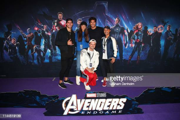 Dalton Ford Justin Lacko and Morgan Waterhouse and friends pose ahead of the special screening of Marvel Studios' Avengers Endgame at IMAX Melbourne...