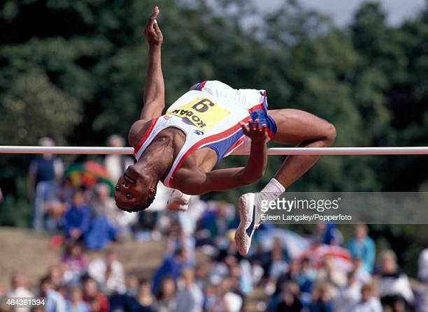 Dalton Grant of Great Britain participating in the men's high jump event during the AAA Championships at Alexander Stadium in Birmingham circa 1989...