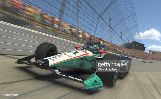 Dalton Kellett, driver of the K-Line Insulators A.J. Foyt Enterprises Chevrolet, races during the IndyCar iRacing Challenge Chevrolet 275 at virtual...