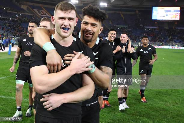 Dalton Papalii and Ardire Savea of the All Blacks celebrate following the International Rugby match between the New Zealand All Blacks and Italy at...