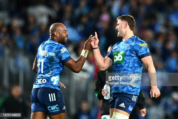 Dalton Papalii of the Blues celebrates after scoring a try with Mark Telea of the Blues during the round five Super Rugby Trans-Tasman match between...