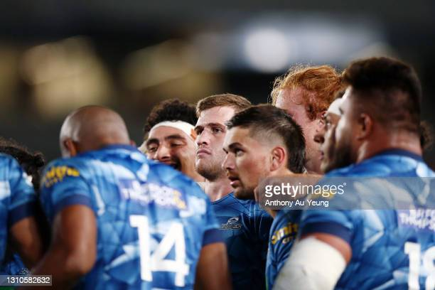 Dalton Papalii of the Blues takes a breather in the team huddle during the round 6 Super Rugby Aotearoa match between the Blues and the Hurricanes at...