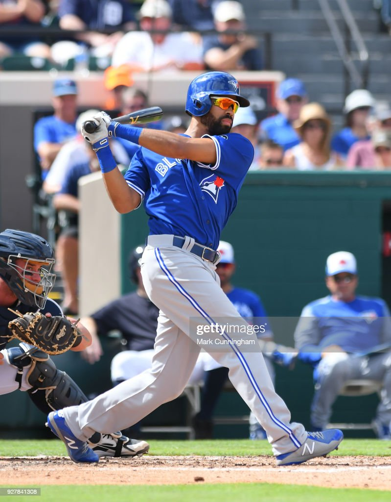 Dalton Pompey #23 of the Toronto Blue Jays bats during the Spring Training game against the Detroit Tigers at Publix Field at Joker Marchant Stadium on February 24, 2018 in Lakeland, Florida. The Tigers defeated the Blue Jays 5-4.