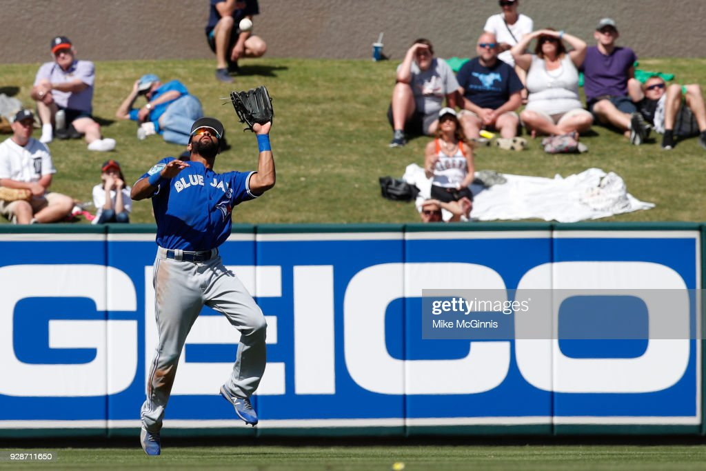 Dalton Pompey #23 of the Toronto Blue Jays makes a catch in left field to retire Jose Iglesias of the Detroit Tigers during the third inning of the spring training game at Joker Marchant Stadium on March 07, 2018 in Lakeland, Florida.