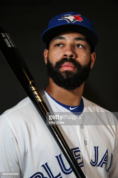 Dalton Pompey of the Toronto Blue Jays poses for a portait during a MLB photo day at Florida Auto Exchange Stadium on February 21 2017 in Sarasota...