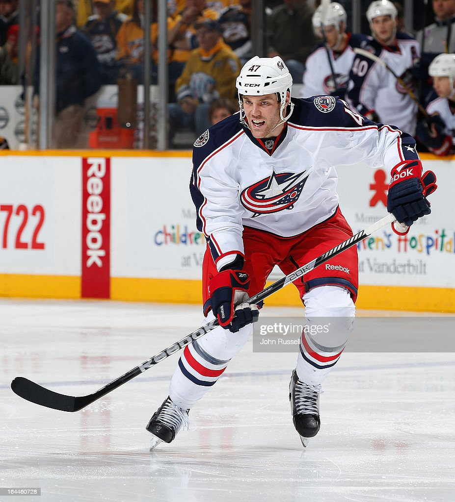 Dalton Prout #47 of the Columbus Blue Jackets skates against the Nashville Predators during an NHL game at the Bridgestone Arena on March 23, 2013 in Nashville, Tennessee.