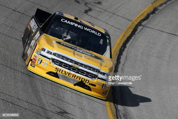 Dalton Sargeant driver of the Performance Plus Motor Oil Chevrolet practices for the NASCAR Camping World Truck Series Active Pest Control 200 at...