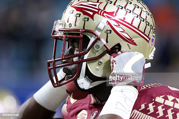 Dalvin Cook of the Florida State Seminoles warms up prior to their Capitol One Orange Bowl game against the Michigan Wolverines at Sun Life Stadium...