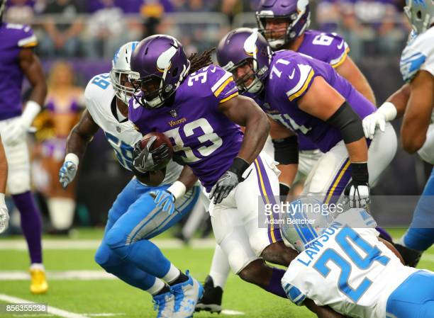 Dalvin Cook of the Minnesota Vikings carries the ball in the first quarter of the game against the Detroit Lions on October 1 2017 at US Bank Stadium...