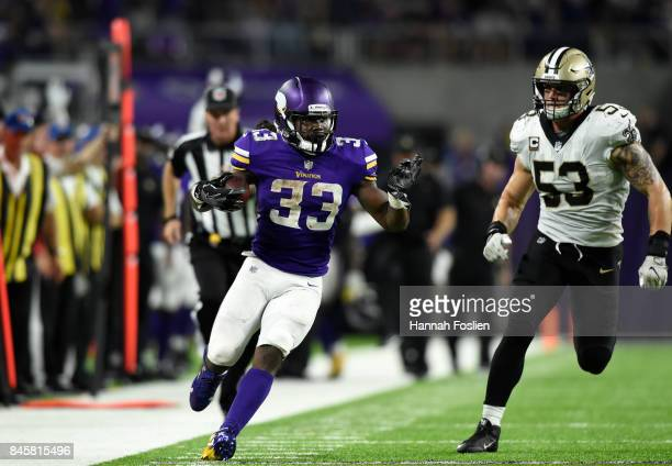 Dalvin Cook of the Minnesota Vikings carries the ball in the second half of the game against the New Orleans Saints on September 11 2017 at US Bank...