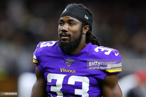 Dalvin Cook of the Minnesota Vikings reacts against the New Orleans Saints during a game at the Mercedes Benz Superdome on January 05, 2020 in New...
