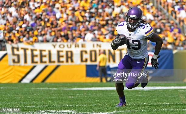 Dalvin Cook of the Minnesota Vikings rushes against the Pittsburgh Steelers in the second half during the game at Heinz Field on September 17 2017 in...