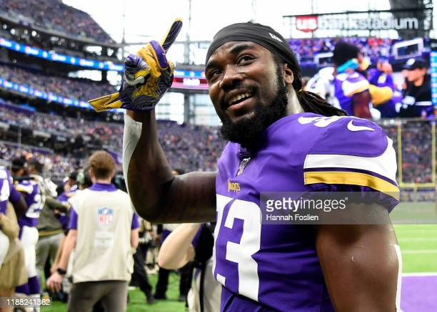 Dalvin Cook of the Minnesota Vikings walks off the field before a game against the Denver Broncos at U.S. Bank Stadium on November 17, 2019 in...