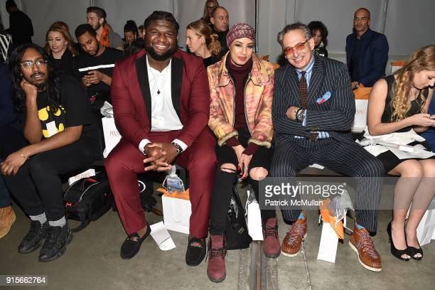 Dalvin Tomlinson Eman B Fendi and Jeffrey Poldolsky attend The Blue Jacket Fashion Show Benefiting Prostate Cancer Foundation at Pier 59 on February...