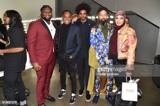 Dalvin Tomlinson Frederick Anderson Sean Frazier Ty Hunter and Eman B Fendi attend The Blue Jacket Fashion Show Benefiting Prostate Cancer Foundation...