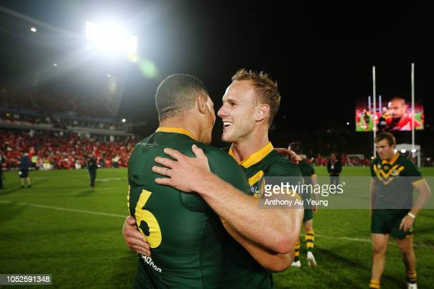 Daly CherryEvans and Tyson Frizell of Australia celebrate after winning the International Test match between Tonga and Australia at Mount Smart...