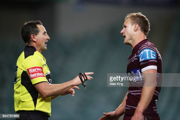 Daly CherryEvans captain of the Sea Eagles argues with referee Gerard Sutton after the match winning try to Tyrone Peachey of the Panthers during the...