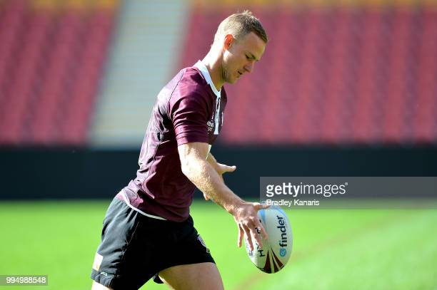 Daly CherryEvans in action during the Queensland Maroons State of Origin Captain's Run at Suncorp Stadium on July 10 2018 in Brisbane Australia