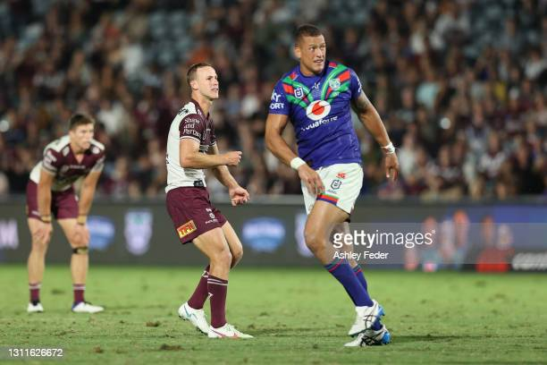Daly Cherry-Evans of Manly Sea Eagles watches his kick during the round five NRL match between the New Zealand Warriors and the Manly Sea Eagles at...